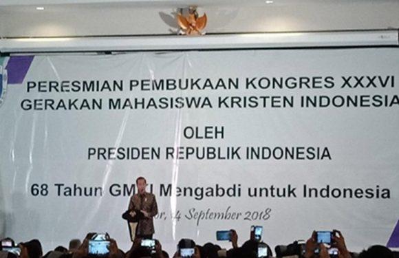Buka Kongres GMKI, Jokowi Pesan Jaga Persatuan dan Kerukunan