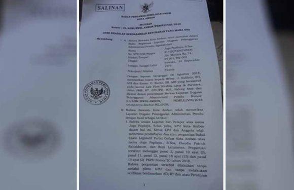 KPU Bersalah, Bawaslu Perintahkan Kembalikan Papilaya Cs ke DCS