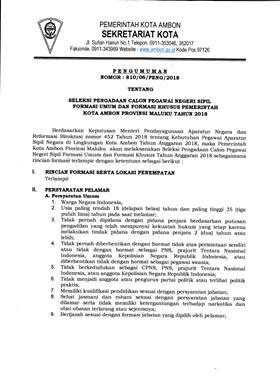 Ini Kebutuhan Jabatan Dalam Formasi 231 Cpns Kota Ambon