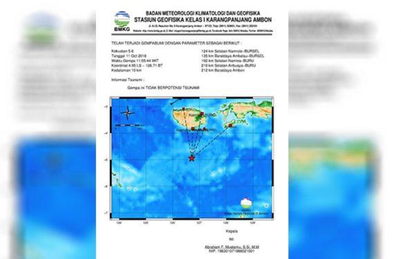 Gempa 5,6 SR Guncang Bursel, Tak Potensi Tsunami