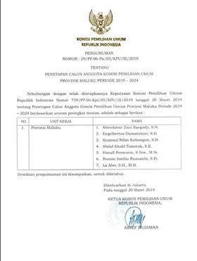 Dua Muka Baru Isi Komposisi KPU Maluku