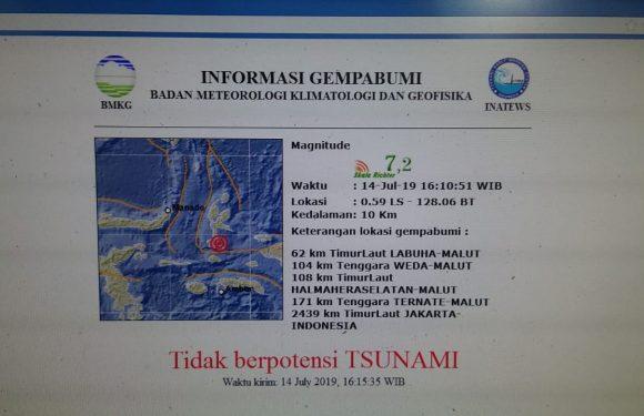 Gempabumi 7,2 SR Guncang Kabupaten Halsel