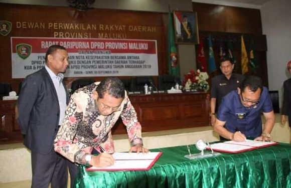 DPRD Maluku Setujui Nota Kesepakatan KUA-PPAS 2019
